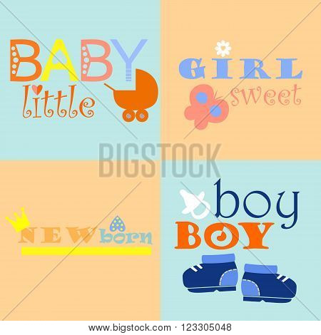 color baby logos and icons with inscriptions