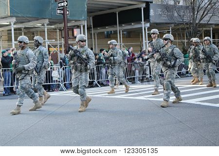 NEW YORK - MARCH 17, 2016: US Special Forces members marching at the St. Patrick's Day Parade in New York