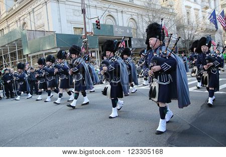 NEW YORK - MARCH 17, 2016: Police Pipes and Drums of Bergen County marching at the St. Patrick's Day Parade in New York