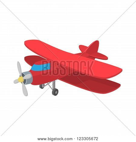 Biplane icon in cartoon style on a white background