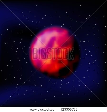 Planet Mars. The Red Planet Mars. Mars In A Black Space. Silhouette Of The Planet Mars. Kratory And