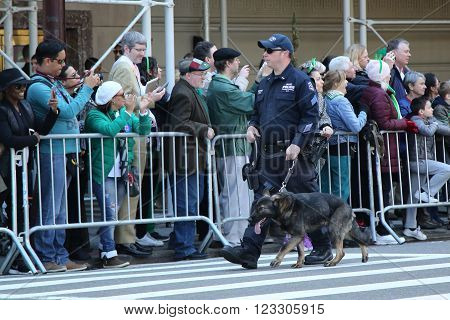 NEW YORK - MARCH 17, 2016: NYPD transit police offecer with K-9 dog providing security at the St. Patrick's Day Parade in New York.