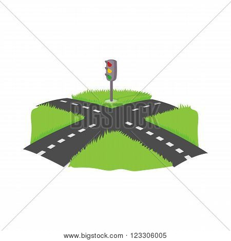 Crossroad icon in cartoon style on a white background