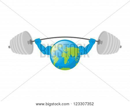 Earth White Background. Earth Day. Strong Planet. Planet Bodybuilder With Huge Muscles.  Earth Is Is