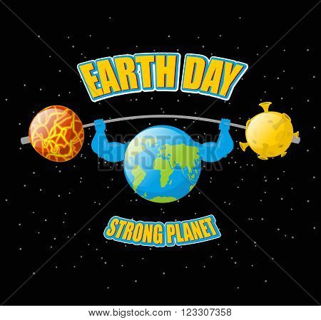 Earth Day. Powerful Planet And Sport Barbell. Lifting Weights.  Fitness Earth. Sun And Moon. Dark Sp