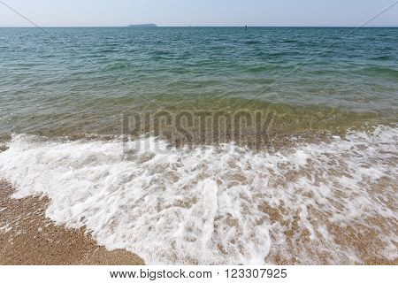 sea shallow landscape, wave ebb and flow on the sand