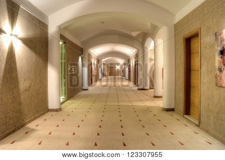 THESSALONIKI GREECE - March 14.2016: Long lighted corridor in the hotel