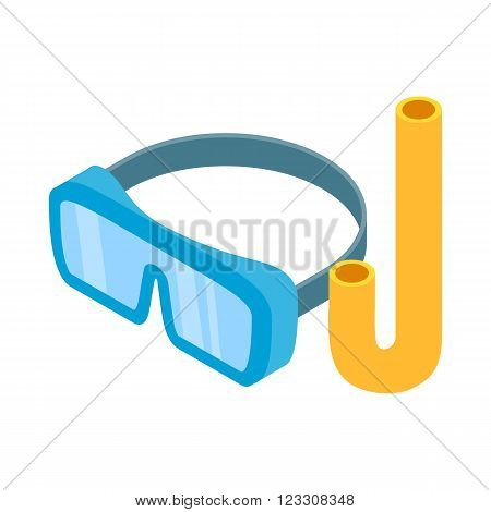 Diving mask icon in isometric 3d style on a white background