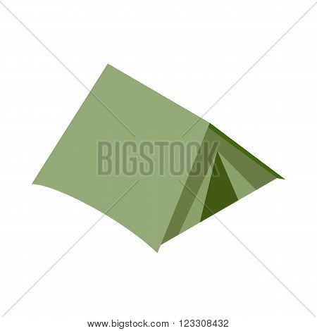 Green tourist dome icon in isometric 3d style on a white background