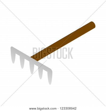 Garden rake icon in isometric style on a white background
