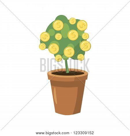 Decorative tree in flowerpot icon in cartoon style on a white background