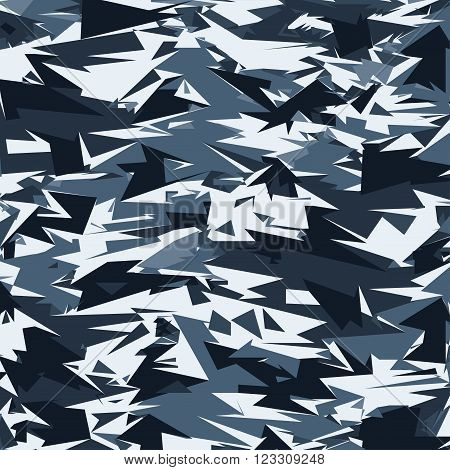 Abstract Blue Military Camouflage Background. Pattern of Geometric Triangles Shapes for Army Clothing