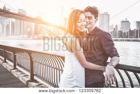Young couple love moments. Couple enjoying time together inNew york city