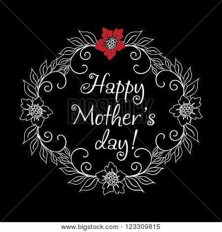 Vintage Mothers Day Label On Chalkboard. happy Mothers day gift card. Vector Mothers day badge