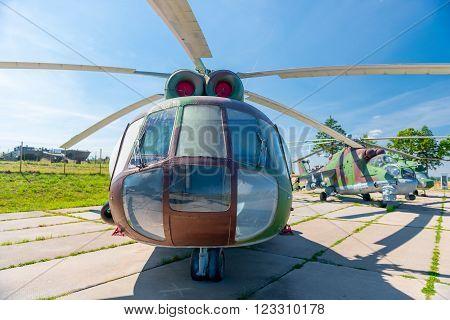 Zaslavl, Belarus - 20 August 2015: Transport combat helicopter MI-8 T on parking