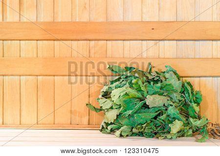 Dry Oak Broom For A Bath Close-up