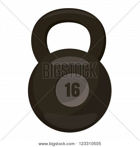Black kettlebell icon in cartoon style on a white background