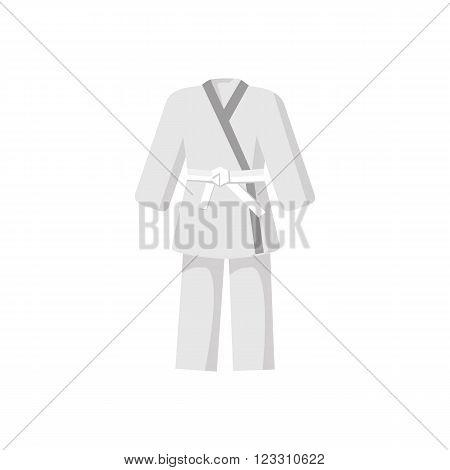 Kimono with martial arts white belt icon in cartoon style on a white background