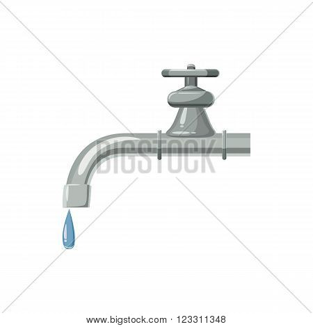 Dripping faucet icon in cartoon style on a white background