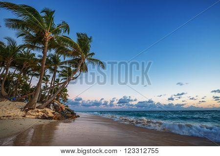 Caribbean wild beach Punta Cana sunrise shot