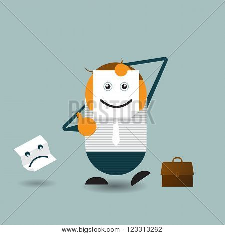 Vector Illustration Cute cartoon. Businessman hide his real face and holding paper with happy emoticon. chooses an emotional faces