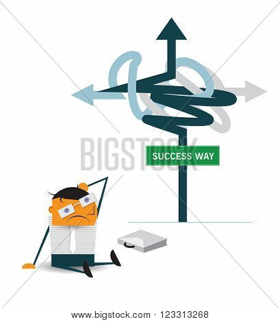 Vector cartoon Confused businessman sitting on the floor in front of sign and thinking of choice for Choosing the right strategic path direct to succeed way. Business choice Decision concept.
