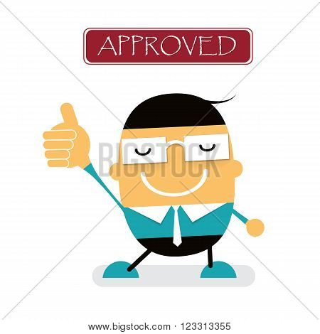 Vector cute cartoon young Businessman showing approved hand gesture with