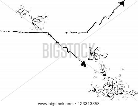 Vector illustration draw doodle cartoon. Failed Businessman running on business line graph and falling down with statistics arrow business. Risk in finance investment mistakes concept.