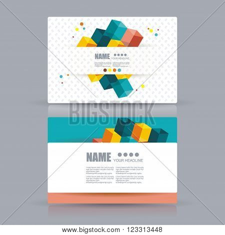 Isometric Business cards Design. Business cards with abstract background. Vector Template layout.