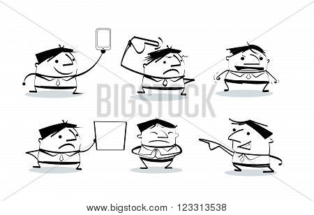 Vector illustration draw doodle cult businessman cartoon pose in various characters. Set of office worker expressing feeling and emotion