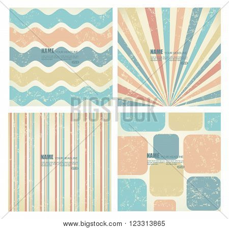 Collection of vector backgrounds in retro style.Can bu use for covers posters flyers banners with hand drawn textures and retro pattern design.