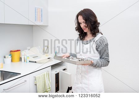 Young cute gynecologist woman working in the clinic