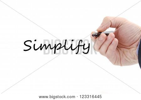 Business man hand and pen isolated on white