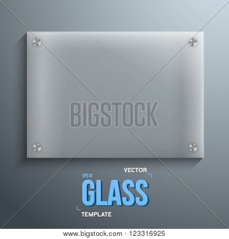 Illustration of Realistic Vector Glass Plate Template Icon. EPS10 Vector Plastic Plate Horisontal Frame