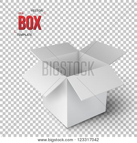 Illustration of Realistic Vector Open Package Box. Vector EPS10 Paper Open Box Isolated on Transparent PS Style Background
