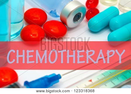 chemotherapy. Vaccine to treat disease. Syringe and vaccine with drugs.