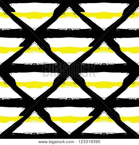 Vector Painted Pattern. Textured geometric background. Abstract seamless pattern from brush strokes. White and black colors. Background from painted black triangles and yellow lines.