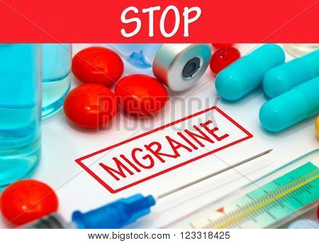Stop migraine. Vaccine to treat disease. Syringe and vaccine with drugs.