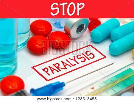 Stop paralysis. Vaccine to treat disease. Syringe and vaccine with drugs.