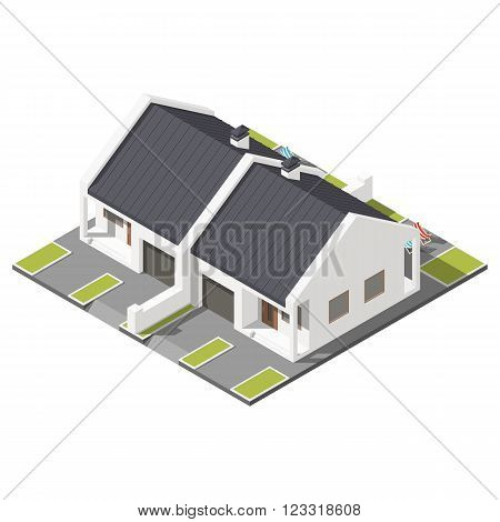One storey connected cottage with slant roof for two families isometric icon set vector grpahic illustration