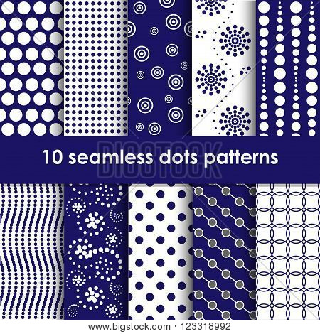 Dots seamless patterns collection in blue and white
