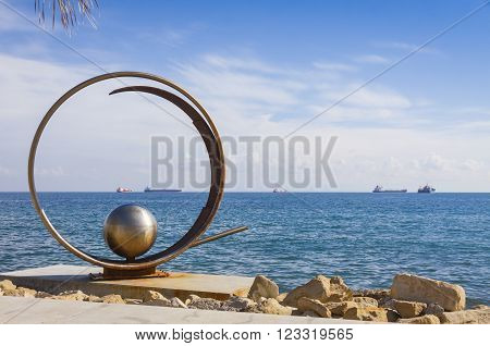 Sculpture In Molos Park At Promenade Alley In Limassol, Cyprus