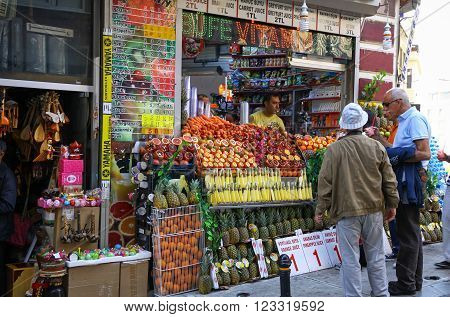 Small Fruits And Fresh Juices Shop On The Streets Of Istanbul