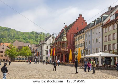 Munsterplatz, The Central Square Of Freiburg Im Breisgau, Germany