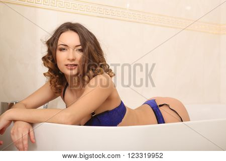 Beautiful Woman In The Bathroom Lingerie