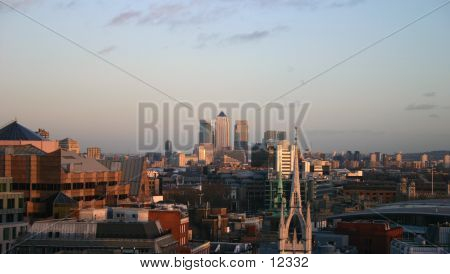 London Skyline Looking To Canary Warf