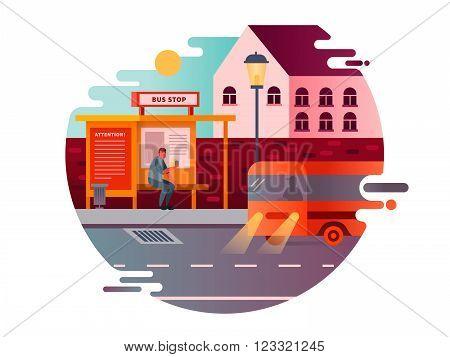 Bus stop design flat. Transport traffic, city public transportation, road station, vector illustration