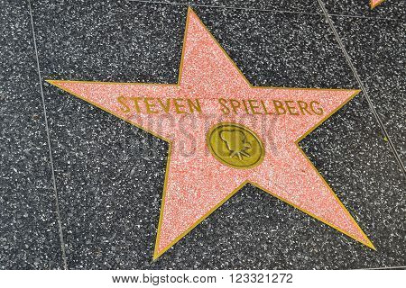 Los Angeles, CA, USA . January 16, 2016: Hollywood Walk of Fame Steven Spielberg