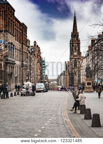 EDINBURGH, SCOTLAND - MARCH 4: Royal Mile and its buildings in the Old Town of Edinburgh at March 4, 2016