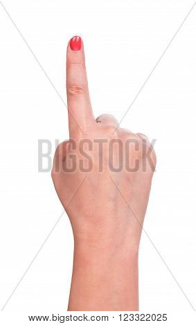 Female hand shows a gesture isolated over white background